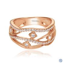 Gabriel & Co. 14k Rose Gold Layered Openwork Diamond Ring