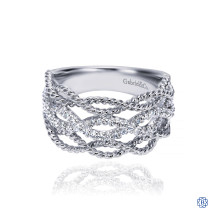Gabriel & Co. 14K White Gold Twisted Rope and Diamond Ring