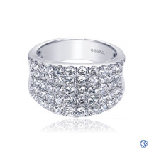 Gabriel & Co. 14K White Gold Wide Band Pave Diamond Ring