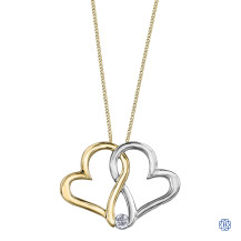 10kt White and Yellow Gold Hearts Diamond Pendant with Chain