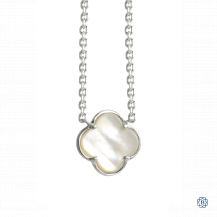 18kt Gold Mother of Pearl Clover Necklace