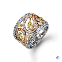 Simon G 18kt white, yellow and rose gold Diamond ring