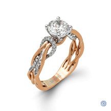 Criss Cross Simon G 18kt rose and white gold Engagement Ring