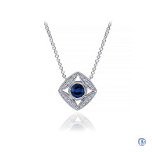 Gabriel & Co. Vintage Inspired 14K White Gold Sapphire and Diamond Pendant Necklace