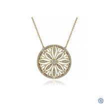 Gabriel & Co. Vintage Inspired 14K Yellow Gold Floral Diamond Pendant Necklace