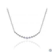 Gabriel & Co. 14K White Gold Graduated Round Diamond Curved Bar Necklace