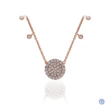 Gabriel & Co. 14k Rose Gold Diamond Disc and Charms Fashion Necklace
