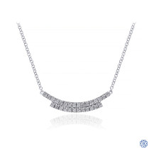 Gabriel & Co. 14K White Gold Curved Double Diamond Bar Necklace
