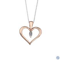 10kt Rose and White Gold Diamond Heart Pendant