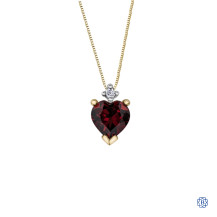 10kt Yellow Gold Garnet Heart shaped Diamond Pendant