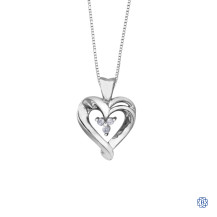 10kt White Gold 0.045ct Diamond Heart Pendant