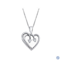 10kt White Gold 0.03ct Diamond Together Forever Heart Pendant