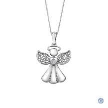 10kt White Gold Angel Diamond Pendant