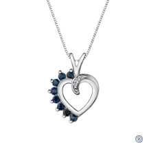 10kt White Gold Sapphire and Diamond Heart Pendant