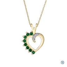 10kt Yellow Gold Emerald and Diamond Heart Pendant
