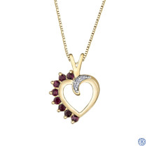 10kt Yellow Gold Ruby and Diamond Heart Pendant