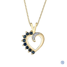 10kt Yellow Gold Sapphire and Diamond Heart Pendant