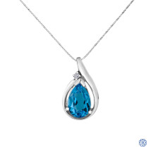 10kt White Gold Blue Topaz Pear Shaped Diamond Pendant