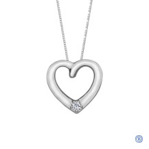 10kt White Gold Diamond Heart Necklace