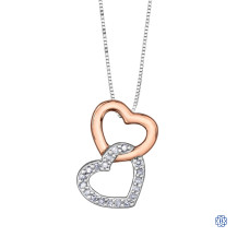 10kt Rose and White Gold 0.06ct Diamond Double Heart Pendant