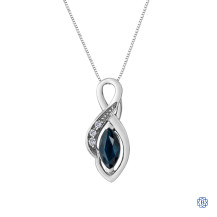 10kt White Gold Sapphire Marquise Diamond Pendant