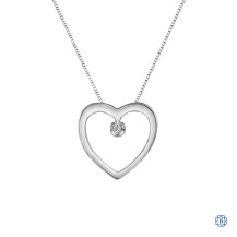 10kt White Gold 0.01ct Diamond Heart Pendant