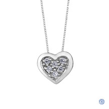 10kt White Gold 0.05ct Diamond Heart Pendant