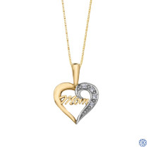 10kt Yellow Gold 0.37ct Diamond Mom Heart Pendant