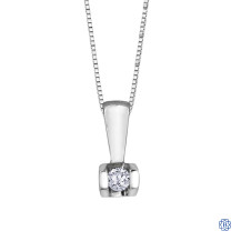 10kt White Gold 0.04ct Tension Set Diamond Pendant