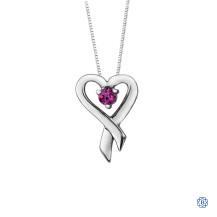 10kt White Gold Pink Topaz Heart Pendant