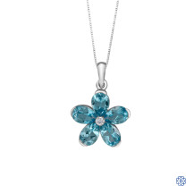 10kt White Gold Blue Topaz Pear-Shape Flower Diamond Pendant with Chain