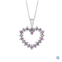 10kt White Gold Pink Sapphire and Diamond Heart Pendant