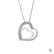 10kt White Gold 0.05ct Diamond Double Heart Pendant