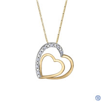 10kt Yellow Gold 0.05ct Yellow Gold Double Heart Diamond Pendant