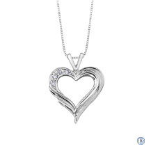 10kt White Gold 0.04ct Diamond Heart Pendant