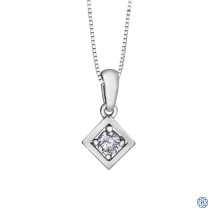 10kt White Gold 0.07ct Solitaire Diamond Pendant