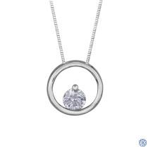 10kt White Gold Circle Diamond Pendant