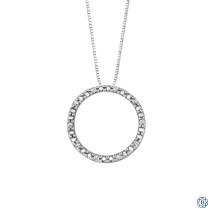 10kt White Gold 0.05ct Circle Diamond Pendant