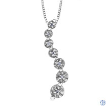 10kt White Gold 0.04ct Journey Diamond Pendant