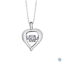 10kt White Gold 0.02ct Tempo Heart Diamond Pendant