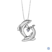 10kt White Gold Dolphins Diamond Heart Pendant