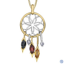 10kt White and Yellow Gold Diamond and Gemstone Dreamcatcher Necklace