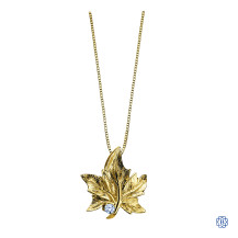 10kt Yellow Gold Canadian Diamond Maple Leaf necklace