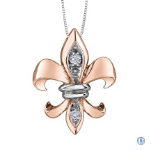 10kt Rose and White Gold Canadian Diamond Fleurdelisé necklace