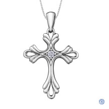 10kt White Gold Canadian Diamond Cross Necklace