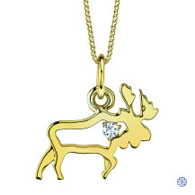 10kt Yellow Gold Canadian Diamond Moose necklace