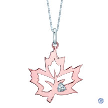 10kt Rose Gold Canadian Diamond Maple Leaf necklace