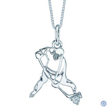 10kt White Gold Canadian Diamond Hockey Player necklace
