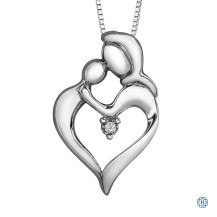 Silver Canadian Diamond Family Love necklace