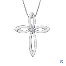 Silver Canadian Diamond Cross necklace